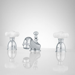 Barney Widespread Bathroom Faucet - Small Porcelain Cross Handles - Charming and petite, this lavatory widespread faucet features small porcelain cross handles with classic escutcheons. The Barney has a curved spout, which helps to make this faucet the perfect addition to your traditional bathroom.