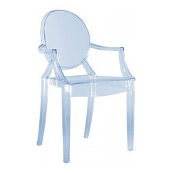 Kartell - Louis Ghost Armchair, Set of 2, Transparent Ice Blue - Combining classic baroque style with an\