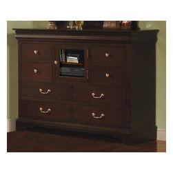 Winners Only - Renaissance 10 Drawer Glass Door Dresser - Ten drawers. Dresser with glass door. Shelves for DVD and VCR storage. 58 in. W x 18 in. D x 44 in. H (244 lbs.)