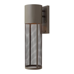 Hinkley Lighting - Hinkley Lighting 2304KZ Aria Transitional Outdoor Wall Light Sconce - Aria is a contemporary style that effortlessly complements the fa&#231:ade of any exterior. Its modern shape in durable aluminum is enhanced by a stainless steel mesh shade.