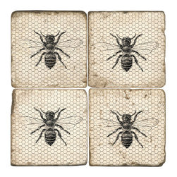 Studio Vertu - Bee Coasters, Set of 4 - Be the Queen Bee of your home! The bee has long symbolized female strength. Celebrate your strength with these handmade coasters. The coasters are handmade in a Cincinnati studio using tumbled Italian botticino marble with cork backing. Please note that due to the natural marble, any imperfections are inherent to the design and add to the natural beauty of these coasters.   About the Artist: Studio Vertu's success story began in 1995, when owner Mark Schmidt developed the concept of Lightweight Fresco Tile. Schmidt saw the product as an alternative to permanently mounted marble tiles or hand-painted mural. His insight led to Studio Vertu being awarded an installation at The National Football League Headquarters in New York City. In addition to developing large-scale installations, Schmidt wanted to bring the idea of original artwork on marble tile to homes, allowing more people to enjoy the pieces. In the spring of 1995, Studio Vertu introduced 10 sets of Italian Marble Coasters, each consisting of four different images, and a business was born. Studio Vertu continues to hand make their marble artwork in their Cincinnati-based studio. Studio Vertu installation at NFL Headquarters in NYC   Product Details: