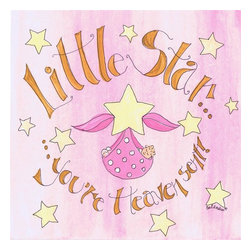 Stupell Industries - Little Star You're Heaven Sent Girl's Square Wall Plaque - Made in USA. MDF Fiberboard. Hand finished and packed. Approx. 12 in. W x 12 in. L. 0.5 in. ThickThe Kids Room by Stupell features exceptional handcrafted wall decor for children of all ages.  Using original art designed by in-house artists, all pieces feature hand painted and grooved borders as well as colorful grosgrain ribbon for hanging.  Made in the USA, everything found in The Kids Room by Stupell exudes extraordinary detail with crisp vibrant color. Whether you are looking for one piece to match an existing room's theme, or looking for a series to bring the kid's room to life, you will most definitely find what you are looking for in The Kids Room by Stupell.