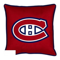 Sports Coverage - NHL Montreal Canadiens Sideline Toss Pillow - Coordinating Montreal Canadiens Toss Pillow to match jersey material logo Montreal Canadiens comforter. Each pillow is made from 100% polyester jersey material (just like the athlete's wear). Pillow features large team logo of Montreal Canadiens in the center of the pillow, as well as a strip of mesh trim around it.   Features:  -  100% Polyester Cover and Fill,   -  Sidelines is trimmed in teams secondary color.,    - 100% Polyester Jersey,    -  Size: 17 x 17,   -  Spot Clean only,