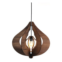 Lightology Collection - Cotton Pendant - Cotton Pendant features Blackwood or Oak scrolled panels with Black fittings. Can be fitted on either end for two different pendant looks. Available in two sizes. One 75 watt, 120 volt A19/Medium incandescent bulb is required, but not included. Small: 12.8 inch width x 14.17 inch height. Large: 19.69 inch width x 20.08 inch height.
