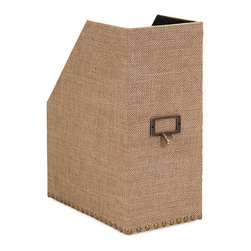 iMax - Corbin Magazine Holder - A burlap covered Magazine Holder is studded with metal nail heads and accents for an industrial look with natural masculine style.