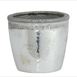 "Whitley Stoneware Cachepot, Metallic Silver, Small - Unglazed rims give our stoneware vases a unique texture. Filled with fresh flowers and grouped together on a table or mantel, they create a stunning display. Small Cachepot: 5.5"" diameter, 5"" high Large Cachepot: 7.5"" diameter, 6"" high Pitcher: 11.75"" wide x 10"" deep x 18"" high Urn: 10.5"" wide x 9"" deep x 13"" high Made of terra cotta with a silver glazed finish."