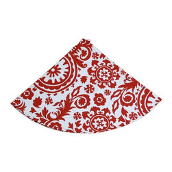 """5 Surry Lane - Red Suzani Global Holiday Tree Skirt - Designer Holiday Tree Skirt.  54"""" Round.  Fully lined."""