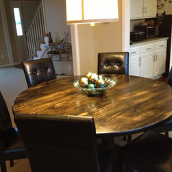 "60"" Round Dining Table (solid wood) - 60"" Round Pedestal table in Vintage Midnight stain."