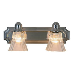 AF LIGHTING - Decorative Vanity Fixture, Brushed Nickel - Brighten the decor of your bathroom with an appealing two-light vanity fixture. Its brushed nickel finish, clear ribbed glass globe, and decorative backplate creates a look of refined elegance and majestic charm.