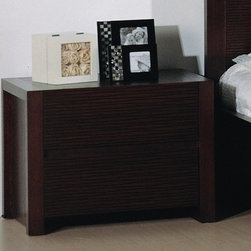 Beverly Hills Furniture - Etch Bedroom Night Stand - Oak veneer in wenge finish. Two drawers for storage. Horizontally etched drawers faces. Full extension ball-bearing tracks for drawers. Thick solid wood frame. 17 in. W x 24 in. L x 18 in. HCrafted from carefully selected hardwood and oak veneers, the Etch Collection represents a unique combination of design and workmanship. Drawer faces feature carefully etched horizontal wavy lines.  Fully finished at the factory with full extension, ball-bearing tracks that offer smooth, everyday use.  The drawer handles are grooved inside the drawer face for an uninterrupted motif.  Finished with thick boarder wooden frames, a complete unique look for your bedroom for many years to come.