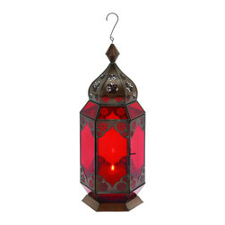 "Benzara - Traditional Metal Lantern with Red Glass and Intricate Detailing - Artistic in design and innovative in functionality, this Aluminum Bell is a remarkable accessory that lives up to your style and enhances your choices. Featuring a string and a hook to ease mounting on the wall, this Bell can be used as an accessory to decorate gardens too. The positive vibes spiraling out of this bell can help to create a traditional ambience in your room. It also caters to modern and contemporary decor with a perfect style that can complement them perfectly. You can either mount the bell near a window to create a personalized comfort area or mount it on a wall to highlight the color shades of your walls with a border of accessorized decor. This aluminum bell is crafted with fine workmanship that results into intricate details on a high quality metal. Live the smart by adding a class of uptown vigor in your home settings. It comes with a dimension of 17"" H x 7"" W x 7"" D."