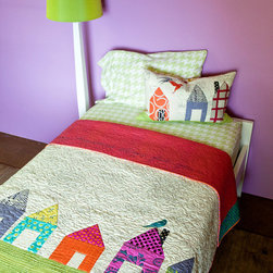 "Wonky Little Houses Quilt Pattern - This is a quilt pattern called ""Wonky Little Houses."" I love its playful look. It was designed by my friend (and super talented artist) Carrie Bloomston."