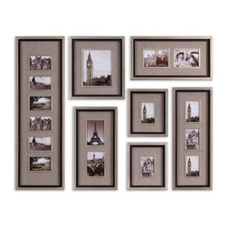 Uttermost - Massena Photo Frame Collage, S/7 - This collection of frames features a lightly antiqued silver leaf finish with a matte black liner.