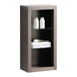 Fresca - Fresca Gray Oak Bathroom Linen Side Cabinet w/ 2 Glass Shelves - This attractive hanging side cabinet comes in a Gray Oak finish.  It features 2 glass shelves with 3 open areas.