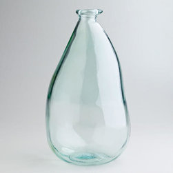 14-inch Clear Barcelona Vase - I love the unique raindrop shape of this recycled glass vase. Handcrafted in Spain, this large vase is a beautiful piece by itself, but a single fan palm leaf inside would certainly make a statement.