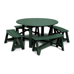 Vifah - Five Piece Dining Set - If you have a family, picnic table style is one of the best ways to get everyone around a dinner table outside. This version is made of recycled plastic and looks great. I like that this has a traditional picnic table feel with a round table that carries out to rounded benches.
