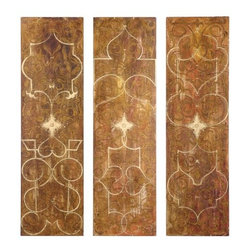 Uttermost - Uttermost 32132 Scrolled Panel I, II, III - Set of 3 - Uttermost 32132 Grace Feyock Scrolled Panel I Ii Iii Set of 3 Wall ArtFrameless hand painted panels on hard board with outer edges painted black. Due to the handcrafted nature of this artwork, each piece may have subtle differences.Features: