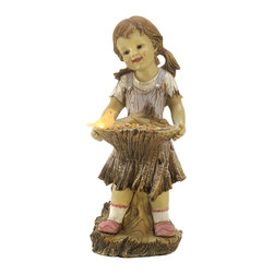 KOOLEKOO - Sweet Summertime Solar Garden Statue - A rosy-cheeked girl and her friendly feathered companion get ready to gather a summer bouquet. Lovingly fashioned to resemble hand carved wood; a special hidden solar light provides a lovely after-dark glow.