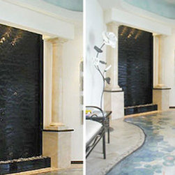 Indoor Custom Water Feature Ideas - This is an excellent example of the type of water feature that the expert builders at Water Feature Supply can create. Our fountain engineers have the experience and knowledge to help create your custom water wall project bringing even your wildest dream into reality. Every one of our custom water features is hand built with the finest quality materials in the world and fully tested to ensure longevity. The finest indoor custom water feature builders in the world...Water Feature Supply.