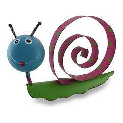 """Zeckos - Pink and Blue Bobble Head Snail Whimsical Metal Sculpture - This snail is a fun addition in your home, garden or shop Crafted from metal with a springy bobble head and a coiled """"shell"""", this 9 inch (23 cm) high, 14 inch (36 cm) long, 3.5 inch (9 cm) wide sculpture is hand-painted in green, pink and blue, and wouldn't be complete without polka dots on his """"home"""" A true conversation starter, this smiling snail sculpture is sure to delight both you and your guests"""