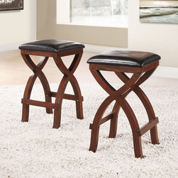 Tribecca Home - TRIBECCA HOME Jaidyn Espresso X-base 24-inch Counter Height Stool (Set of 2) - With curvy X-style legs and a rich espresso finish, these two base stools will add sophistication to any setting. These stools are finished with dark brown vinyl upholstery with gentle baseball stitching.