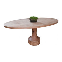 ecofirstart - Chess Table - With a subtle nod to the structure of a chess piece, this elegantly rustic breakfast table is crafted from reclaimed oak, found in the barns and farmhouses of Pennsylvania. This smooth table has been given a fresh finish, but features the preserved natural whorls and original nail holes that give this piece character.