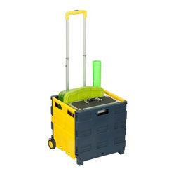"""Rolling, Folding Carry-All Crate - Honey-Can-Do CRT-03622 Folding Utility Cart, Blue/Yellow. This durable, yet lightweight, rolling utility crate is a must-have for the people that get things done.  It folds down to an compact 17"""" x 17"""" x 8"""" to fit nicely in the trunk of a car, utility closet, or cabinet.  Set on smooth rolling wheels, the cart makes easy work of transporting loads up to 75lbs. The handle extends to 39"""" high and locks in place."""