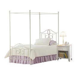 Hillsdale Furniture - Hillsdale Westfield 5-Piece Metal Canopy Bedroom Set in White - Full - The Westfield Canopy bed is constructed of heavy gauge tubular steel in an off white finish. Available in twin and full sizes, this metal canopy bed features charming arched designs and intricate scrollwork. The adorable Westfield Canopy bed is perfect for your little girl�s room.