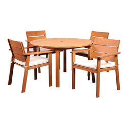 International Home Miami - Amazonia Nelson Eucalyptus 5 Piece Round Dining Set - Nelson Eucalyptus 5 Piece Round Dining Set belongs to Amazonia Collection by International Home Miami Great Quality, elegant design patio set, made of solid eucalyptus wood. FSC (Forest Stewardship Council) certified. Enjoy your patio with style with these great sets from our Amazonia outdoor collection.  Table (1), Chair (4)