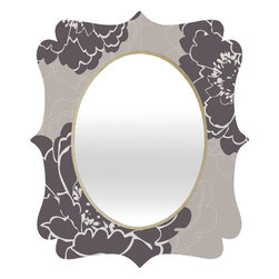 "DENY Designs - Caroline Okun Winter Peony Quatrefoil Mirror - Mirror, mirror on the wall. Whos the fairest one of all? Well thats easy our quatrefoil mirror, of course! With a sleek mix of engineered wood trim thats unique to each piece and a glossy aluminum frame, the quatrefoil mirror makes you feel oh so pretty every time you catch a glimpse.Features: -Quatrefoil mirror. -Caroline Okun collection. -High gloss aluminum with UV resistant coating. -Engineered wood frame. -Quality glass mirror. -Includes wire mount with picture hanger and one C battery. -.Dimensions: -14.2"" H x 16.6"" W x 1.5"" D: 10 lbs. -23.6"" H x 28"" W x 1.5"" D: 15 lbs. -30.6"" H x 36"" W x 1.5"" D: 20 lbs."