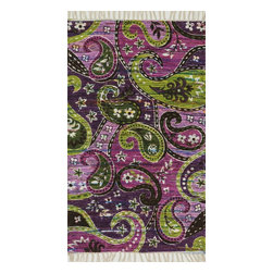 """Loloi Rugs - Loloi Rugs Aria Collection - Purple / Multi, 2'-3"""" x 3'-9"""" - Expressive and relaxed, stylish and fun. The Aria Collection from India has it all. Pretty paisley patterns, flourishing flowers, dreamy damasks and magical medallion designs are printed onto 100% recycled cotton Chindi for scatter rugs that are flirty and fashionable. Dressed in a palette of bold, saturated colors that take you from cool blues and pinks to warm spice tones and modern tropical hues, too, Aria rugs come in select scatter sizes that will accent choice spaces with flair."""