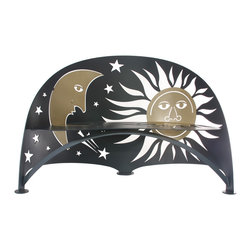 Cricket Forge - Celestial Bench - Anyone who enjoys the rising and setting of the sun or is into star and moon gazing will love this playful interpretation of the heavens. Our celestial bench is airbrushed in deep midnight blue with bronze accents.