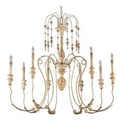 Cyan Design - Maison 8-Light Wrought Iron Chandelier - Wrought iron and wood.