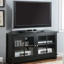 Monarch Specialties - 48 in. Corner TV Console - Contemporary style. Shelves inside two glass doors. Tapered legs. Specifically designed chamfered corners. Brushed silver metal knobs. Black veneer finish. 48 in. W x 18 in. D x 27 in. H (88 lbs.)Save space in your living room or bedroom with this corner unit and utilize that wasted corner space you never know how to fill.