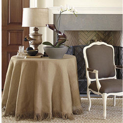"Ballard Designs - 84 inch Fringed Tablecloth - Lined burlap tablecloth with matching fringe. Lined Tablecloth. Dryclean only.. We've taken the neutral hue and natural texture of burlap and refined it with 6"" bullion fringe made of jute. The result is suited for your dining room, den or bedside. Fringed Burlap Tablecloth features include: . . ."