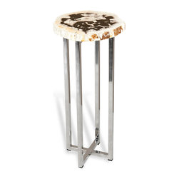 Kathy Kuo Home - Argo Modern Rustic Petrified Wood Round Side Table - Great interior design tells stories without words - through signs and signals, harmonies and contrasts. Pieces like this petrified wood topped side table are perfect examples, creating a relationship between ancient organic materials with the most modern of metal finishes. From glamorous contemporary spaces to spare Industrial Lofts, this piece fits right in.