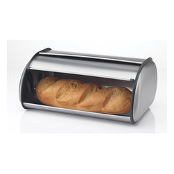 PRIME PACIFIC - Prime Pacific Brushed Stainless Steel Roll Top Bread Box Bin - This Prime Pacific stainless steel roll top breadbox can easily accommodate a loaf or two of bread and some bagels or muffins,dinner rolls or hamburger buns. This food storage box is well ventilated,opens easily,and will keep your bread fresher longer.