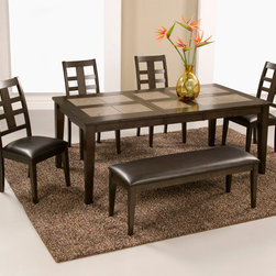 "Alpine Furniture - Piedmont 6 PC Dining Set - Piedmont 6 PC Dining Set; This set includes Tile Top Dining Table, 4 pcs Side Chair and Bench; Dark Walnut Finish; Product Material: Rubberwood Solids; Butterfly Leaf Top; Seat Height: 19""; Country of Origin: Malaysia; Dimensions: Table: 60-76""L x 40""W x 30""H; Side chair: 19""L x 23.5""W x 39.75""H; Bench: 48""L x 16""W x 19""H"