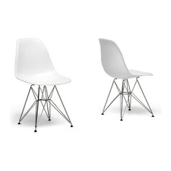 White plastic side chair with wire base (set of 2)