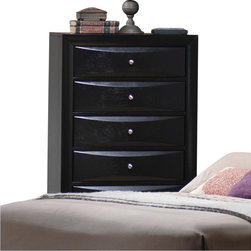 Coaster - Coaster Briana 5 Drawer Chest in Glossy Black Finish - Coaster - Chests - 200705 - Add this beautiful contemporary chest of drawers to your master bedroom for a sleek look that you will love. Beveled chamber drawer fronts and brushed chrome knobs create a bold look in a black glossy finish. With five spacious drawers, this piece will meet all of your bedroom storage needs, with plenty of space for clothing and other essentials. Add this chest to your bedroom to create a casual and functional bedroom where you can truly relax.