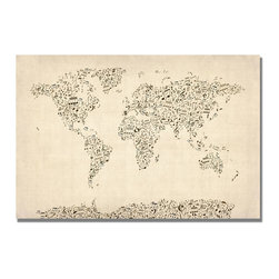 Trademark Art - Michael Tompsett Music Note World Map - 16 x - Gallery Wrapped Canvas Art. Canvas wraps around the sides and is secured to the back of the wooden frame. Frameless presentation of the finished painting. 16 in. L x 24 in. W x 2 in. D (4 lbs.)
