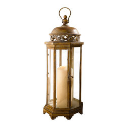 Pier Surplus - Large Metal Moroccan Hanging Candle Lantern, Clear Glass #CL221885 - This hanging metal candle lantern features high-quality materials finished in an earth tone and is designed for indoor or outdoor use. Add an exotic touch of mystery and worldliness to any evening's entertainment. Whether it is hanging from a branch or set as a centerpiece, this Moroccan candle lantern is a sophisticated way to provide soft light at your wedding reception. Its beautiful decorative design encases candles to burn safely.
