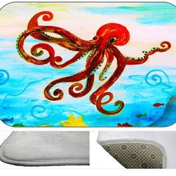 Red Octopus Plush Bath Mat, 20X15 - Bath mats from my original art and designs. Super soft plush fabric with a non skid backing. Eco friendly water base dyes that will not fade or alter the texture of the fabric. Washable 100 % polyester and mold resistant. Great for the bath room or anywhere in the home. At 1/2 inch thick our mats are softer and more plush than the typical comfort mats.Your toes will love you.