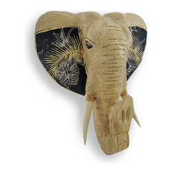 Zeckos - Tan Crackle Finish Elephant with Batik Fabric Ears Head Wall Hanging 16 in. - This elephant head wall hanging adds a beautiful accent to African inspired decor in your home or office. Hand carved from Albesia wood, it features an allover crackle finish and ears that are accented by batik fabric with hand painted details. This piece measures approximately 16 inches high, 14 inches wide, 6 inches deep, and easily mounts to any wall with a single nail or screw. It makes a lovely gift for elephant lovers that is sure to be admired. NOTE: These items are hand crafted and the design and/or color on the ears may vary from the one pictured, adding to its unique appeal.