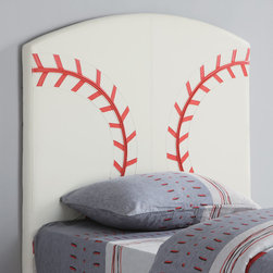 Coaster - 460167 Baseball Headboard - Create a fun look in the youth bedroom in your home with this sports baseball design headboard. Clean straight edges and a gently curved crown create a simple style in this headboard.