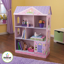 KidKraft - Dollhouse Bookcase - With the Dollhouse Bookcase, girls will have fun keeping their rooms tidy and organized. This cute furniture piece would make a great gift for any of the young princesses in your life. Features: -Sturdy construction. -Three shelves divided into six separate storage compartments. -One storage department is chidden, making it a perfect place for storing special treasures. -For ages 3 - 8 years.