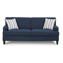 Coaster - Finley Sofa, Blue - Add a pop of color to your room with the Finley collection. Not only is this sofa group covered in easy to care linen, but the vibrant blue hue will definitely make a bold statement in your room. Constructed with pocket coil seating, plush seating and solid wood legs. Two complementary accent pillows are included with the sofa and love seat. Pair with a simple occasional set (#701827-701828).