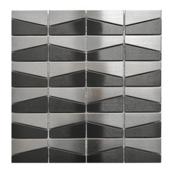 Eden Mosaic Tile - Modern Trapezoid Stainless Steel Tile, Silver & Black - This unique silver and black trapezoid pattern mosaic stainless steel tile is ideal for use on kitchen back splashes, accent walls, fireplaces, bathroom borders and more. The modern, almost space ship like design is best used in contemporary d�cor and installations that require a modern, edgy but minimalist tile pattern design. The multi color adds some welcome depth to this unique design. The tiles in this sheet are mounted on a nylon mesh which allows for an easy installation.