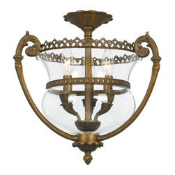 Crystorama - Camden Flush Lantern - Ornate Flush Lantern. Takes 3 - 60 w/c bulbs.