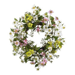 Nearly Natural - 20 Inch Dogwood Wreath - Few flowers can provide the soft beauty like the dogwood. There s just something warm and sunny about these magnificent flowers. And this dogwood wreath perfectly captures that feeling. A full 20 in diameter, the whites, greens, pinks, and yellows mix hypnotically to provide a breath of fresh air that says springtime all year round ! Perfect for your kitchen, sunroom, or as a gift for that sunny person in your life.